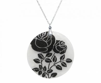 Halskette Anhänger ROSES 925 Silber Schwarz 5 cm