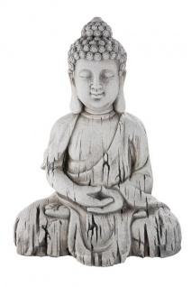 Thai Buddha Deko-Figur-Garten Gartenskulptur Statue Japanische-Gartendeko Gartenfigur Buddhistische Figur Wohnaccessoire grau 17x24x34cm