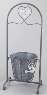 formano Pflanzständer aus Metall mit Rattan-Herz, 65 cm