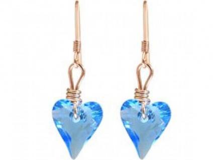 Ohrringe Rose vergoldet Herz Blau MADE WITH SWAROVSKI ELEMENTS®