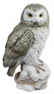 Eule Owl Eulen-Figur Deko-Kautz Herbsteule Herbstdeko/Weihnachten Schneeeule Wintereule Grau Weiß 25cm Groß