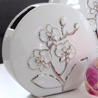GILDE Deko Vase weiß mit silberner Blumenmusterung, 23 x 22 cm
