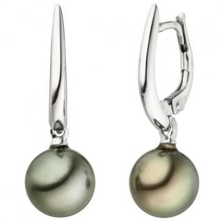 Ohrhänger 585 Gold Weißgold 2 Tahiti Perlen Ohrringe Perlenohrringe
