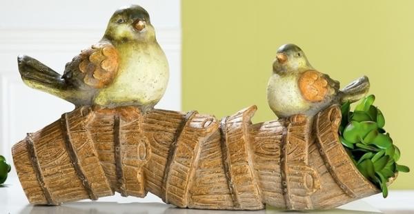 GILDE wetterfeste Pflanzröhre Birdy aus Magnesia, 25 x 53 x 25 cm