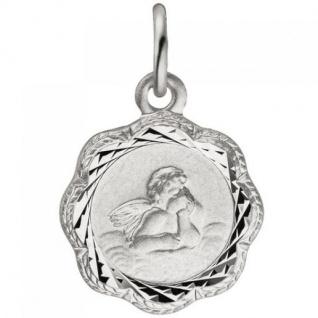 Anhänger Engel Schutzengel 925 Sterling Silber teil matt