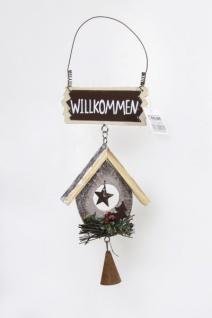 Türhänger Stern in Naturfarben mit Glöckchen, 30 cm