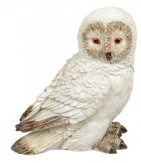 Eule Owl Eulen-Figur Deko-Kautz Herbsteule Herbstdeko/Weihnachten Schneeeule Wintereule Creme Weiß 13cm Groß