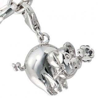 Einhänger Charm Glücksschwein 925 Sterling Silber Glücksbringer