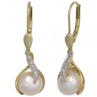 Boutons 585 Gelbgold 2 Süßwasserperlen 6 Diamanten Ohrringe