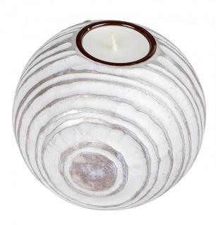 antiker Teelichthalter Kerzenhalter Kugel champagner weiß matt 12 cm