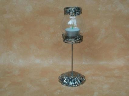 Teelichtglas Antik aus Metall und Glas