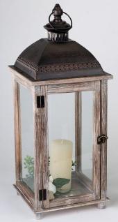 Laterne aus Holz Vintage Antik braun Windlicht Rustikal eckig 58 cm
