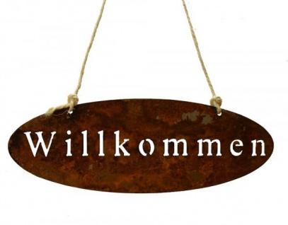 Schild, oval mit Willkommen aus Metall ca. 45 cm breit