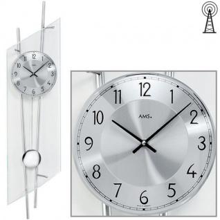 AMS 5200 Wanduhr Funk mit Pendel silbern modern Pendeluhr mit Glas