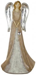 Deko-Figur Engel mit Silberflügel und Herz braun grau 20 cm groß Weihnachtsengel Weihnachtsdeko stehend