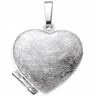 Medaillon Herz 925 Sterling Silber rhodiniert eismatt