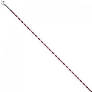 Rundankerkette Edelstahl rot weinrot lackiert 45 cm Kette Halskette Karabiner