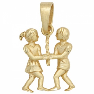 Kettenanhänger Sternzeichen Zwilling 585 Gelbgold teilmattiert