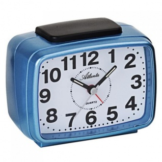 Atlanta 1323/5 Wecker Quarz analog blau leise ohne Ticken mit Licht Snooze