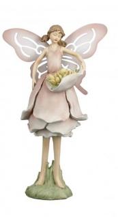 Deko-Figur Blumenfee Feengarten Blütenfee Naturelfe Blumenengel Gartenengel Feenstatue Gartendeko Gartenfigur rosa 11x10x24cm Fantasyfigur