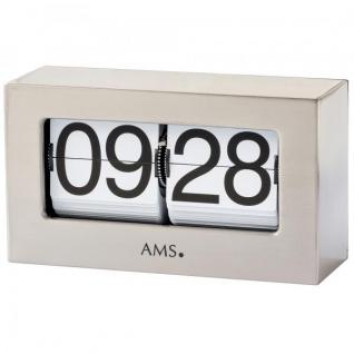AMS 1175 Tischuhr Quarz silbern Metall Klappzahlen eckig