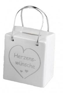 Trendige Spardose Tasche mit Spruch und Henkel 8 x 9 cm
