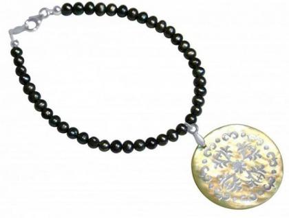 Armband aus Tahiti-Perlen mit Perlmutt Medaillon 925 Silber Grau
