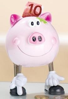 GILDE Spardose Sparschwein in Rosa mit Wackelkopf, 13 cm