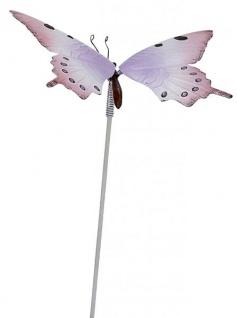 Gartenstecker Dekostecker Schmetterling weiß lila 18 x 28 x 70 cm