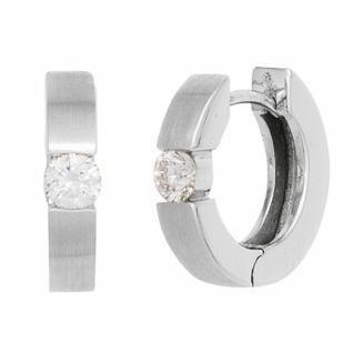 Creolen 585 Weißgold mattiert 2 Diamanten Brillanten 0, 20ct. Ohrringe