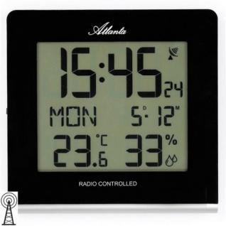 Atlanta 4465 Wanduhr Tischuhr Wecker Funk digital Datum Thermometer