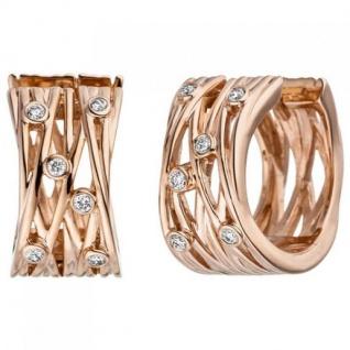 Creolen breit 585 Gold Rotgold 12 Diamanten Brillanten Ohrringe