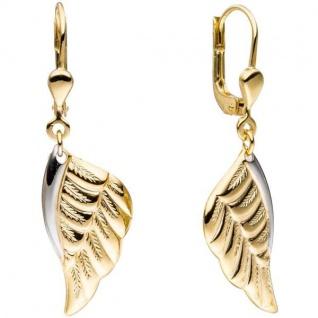 Ohrhänger Flügel Engelsflügel 333 Gold Gelbgold bicolor Ohrringe Boutons