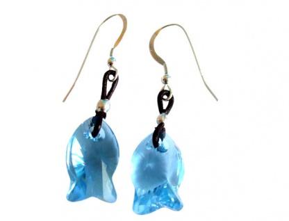 Ohrringe Fisch *Aquamarin* Silber WITH SWAROVSKI ELEMENTS®