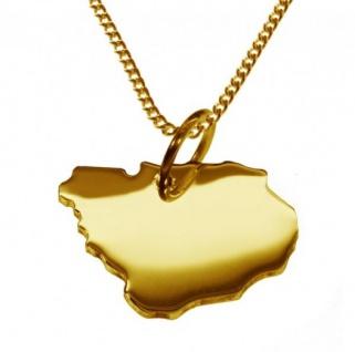 URUGUAY Kettenanhänger aus massiv 585 Gelbgold mit Halskette