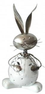 Windlicht Deko Hase weiß silber 31cm Kerzenhalter für innen Teelichthalter für außen witzige Osterdekoration Frühjahrsdeko