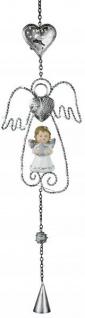 LED Fensterdekoration Engel mit Herz aus Metall weiß mit Licht 58 cm groß