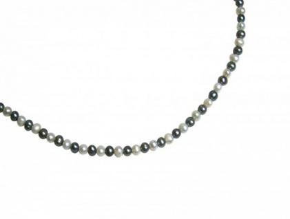 Damen Halskette Perlen Tahiti Grau Weiß 925 Silber 45 cm