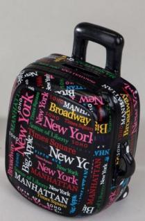 formano Spardose Sparbüchse Koffer in Schwarz aus Keramik, 15 cm