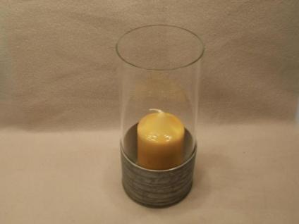 Windlicht aus Glas und Metall, 22 cm hoch - Vorschau 2