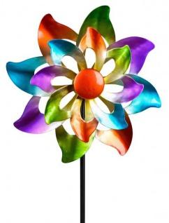 Windrad für den Garten aus Metall Blume 110 cm