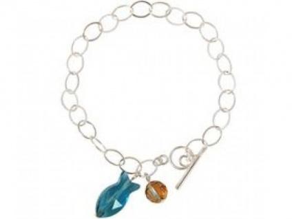 Armband 925 Silber Fisch Blau MADE WITH SWAROVSKI ELEMENTS® 3 cm
