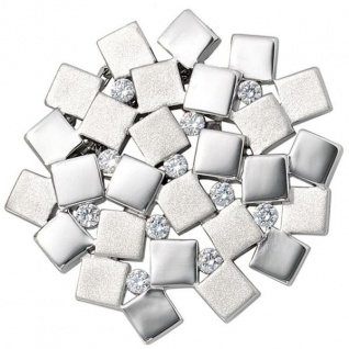 Anhänger 925 Sterling Silber rhodiniert mattiert 11 Zirkonia