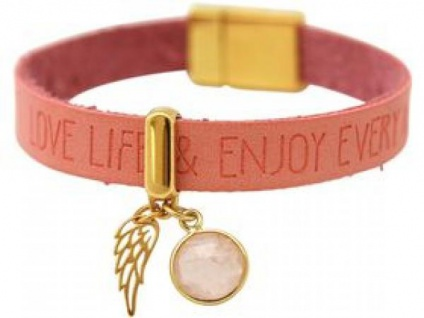 Armband Engel Flügel 925 Silber Vergoldet WISHES Pink Rosenquarz Rosa