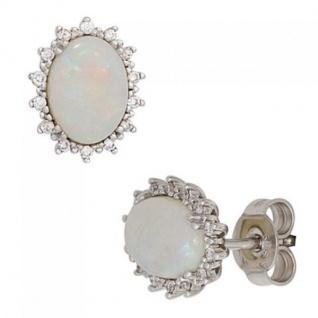 Ohrstecker oval 585 Gold Weißgold 2 Opal-Cabochons 28 Diamanten Brillanten