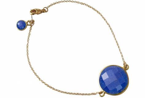 Damen Armband Vergoldet Saphir blau facettiert 17 cm