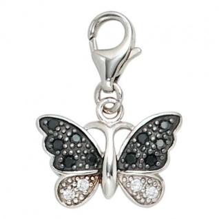 Einhänger Schmetterling 925 Sterling Silber rhodiniert, Zirkonia