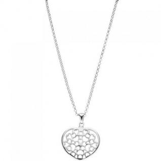 Collier Kette mit Anhänger Herz Herzen 925 Sterling Silber 45 cm