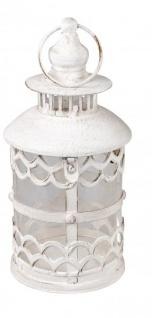 Deko-Laterne aus Metall Lampe Stahllaterne Vintage Antik orientalisches Windlicht italienische Gartenlaterne Kerzenhalter weiß 13x13x35cm