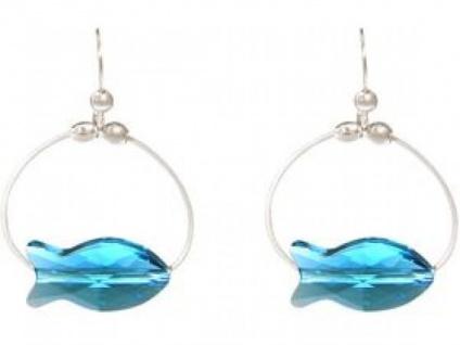 Ohrringe 925 Silber Fisch Blau MADE WITH SWAROVSKI ELEMENTS® 3 cm